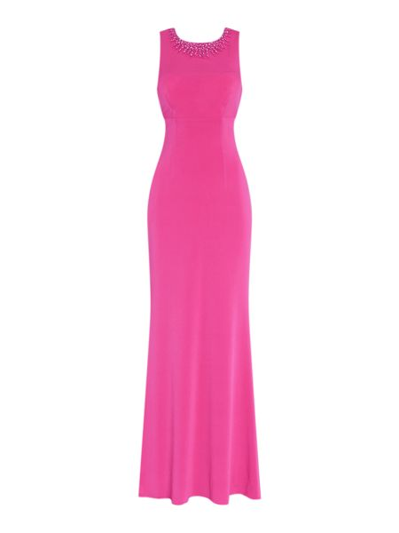 JS Collections Beaded neck gown with cross back