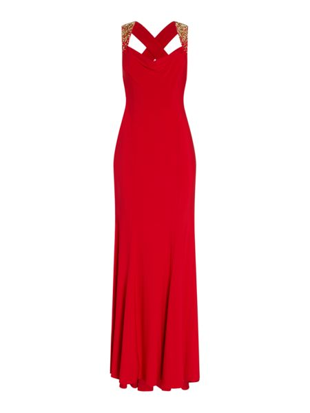 JS Collections Cowl neck gown with beaded shoulders