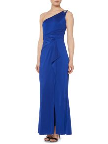 Carmen Marc Valvo Infusion One shoulder gown with embellishment