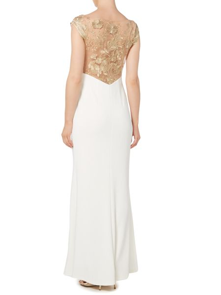 JS Collections Lace back gown with side split