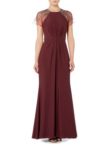 Biba Beaded shoulder maxi event dress