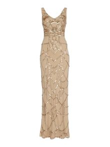 Biba Art deco inspired fully beaded maxi dress