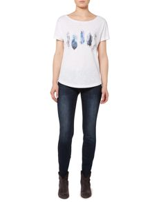 Feather placment print t-shirt