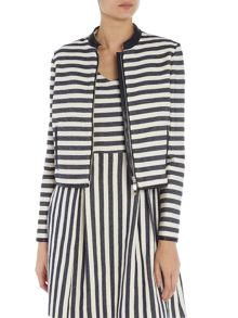 Stripe jacket with pu trim