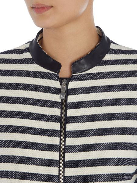 Armani Jeans Stripe jacket with pu trim