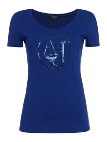Armani Jeans Short sleeve sequin logo jersey top