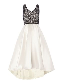 Lace bodice V neck dress