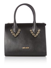 Just Cavalli Black mini tote bag with studs