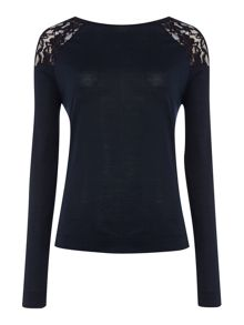Armani Jeans Long sleeve lace shoulder detail jersey top