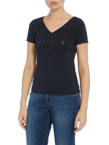 Short sleeve v neck embellished logo top