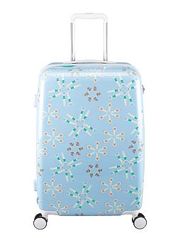 Lido blue 8 wheel hard medium suitcase