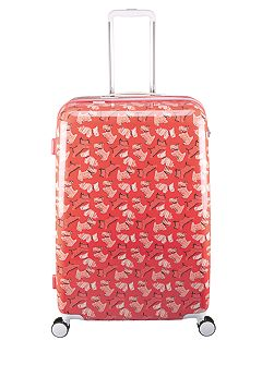 Fleet street orange 8 wheel hard large suitcase