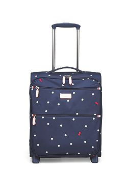 Cheshire street navy 2 wheel soft cabin suitcase