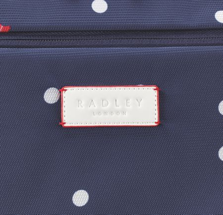 Radley Cheshire street navy 2 wheel soft cabin suitcase