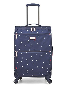 Cheshire street navy 4 wheel soft medium suitcase
