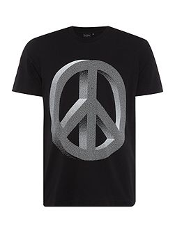 Regular fit crew neck peace sign printed t