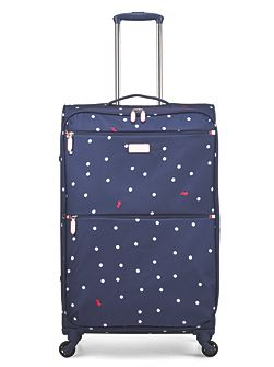 Cheshire street navy 4 wheel soft large suitcase