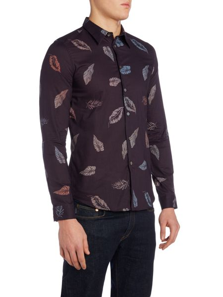 PS By Paul Smith Slim fit leaf print shirt