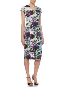 Pied a Terre Print Panelled Midi Dress