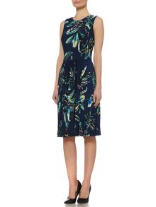 Linea Palm print pleated jersey dress
