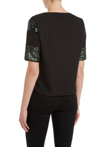 Vero Moda Short Sleeved Sequin Swirl Top