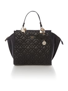 Guess Ines black quilted tote crossbody bag