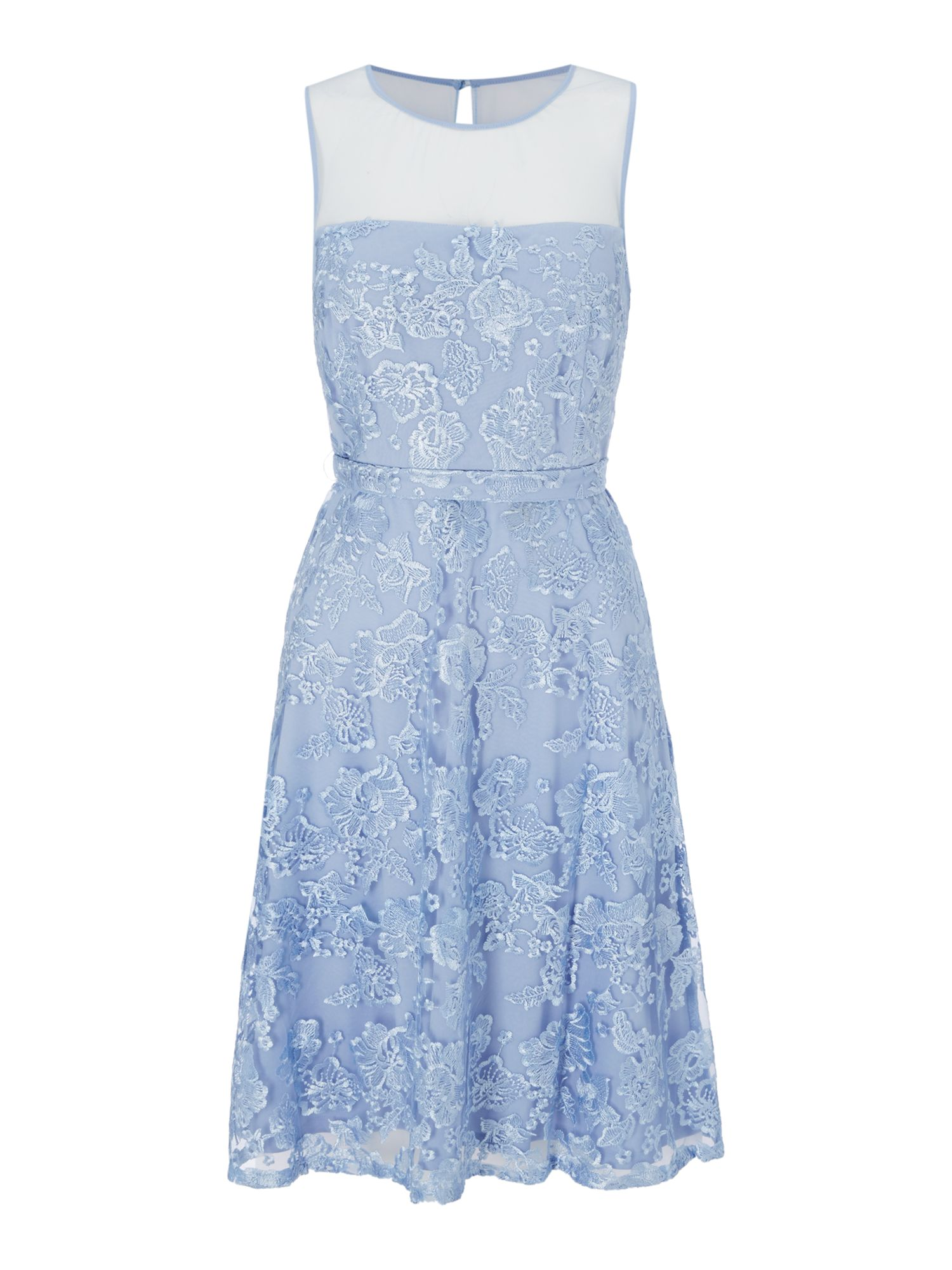 Shubette Shubette Floral lace fit and flare dress, Blue