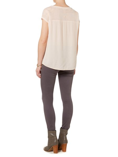 Gray & Willow Mona mesh lace detail top