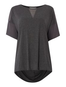 Gray & Willow Heather Jersey Top With Woven Panel Detail