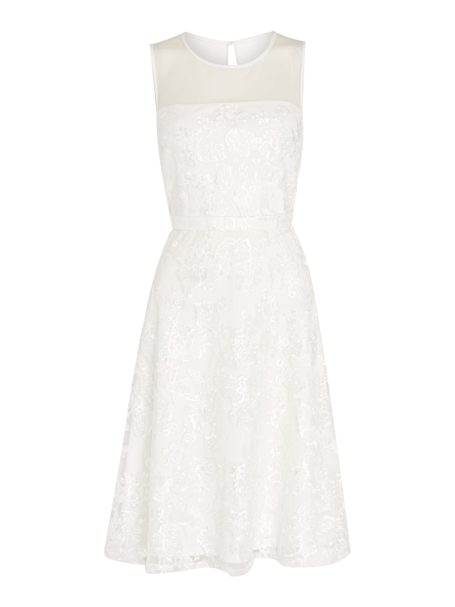 Shubette Shubette Floral lace fit and flare dress, White