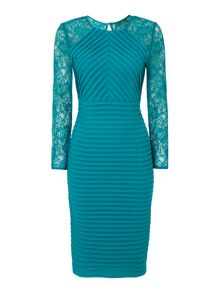 Linea Teal lace sleeve shutter dress