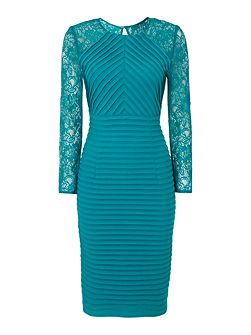 Teal lace sleeve shutter dress