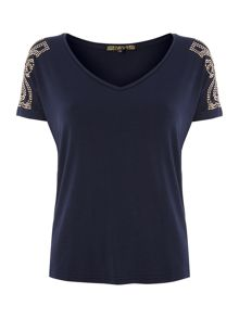 Biba Studded shoulder v neck tee