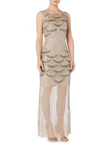 Biba Full beaded biba gold maxi dress