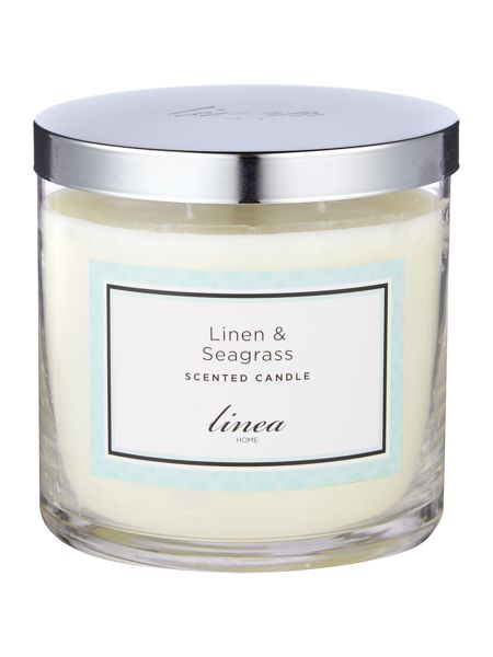 Linea Linen & Seagrass 3 Wick Candle