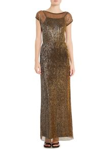 Vero Moda Short Sleeved Ribbed Foil Maxi Dress