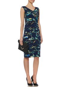 Linea Palm printed shutter dress