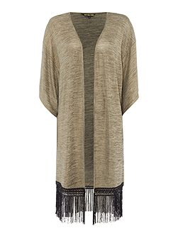 Throw on metallic fringed cardigan