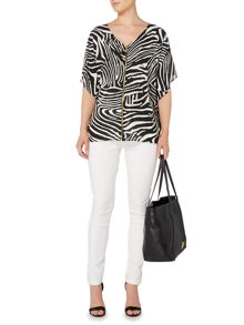 Biba Zebra printed zip up blouse