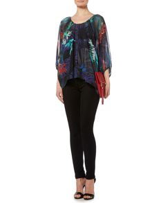 Biba Printed button detail volume blouse