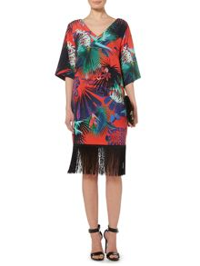 Biba Printed kimono sleeve fringed dress