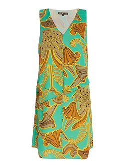 Biba Printed frill detail sleeveless dress