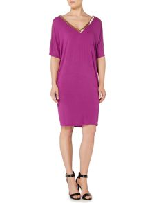 Biba Beaded shoulder detail jersey dress