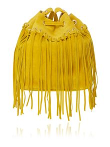 Just Cavalli Yellow bucket bag with fringe