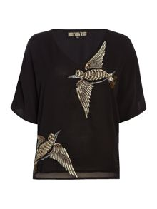 Biba Beaded bird v neck blouse