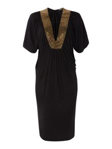 Biba Beaded v neck volume dress