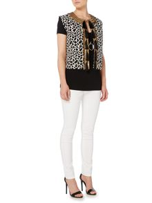 Biba Jacquard embellished tassel sleeveless jacket
