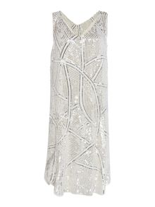 Biba Biba gold fully embellished shift dress