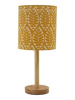 Tessa Wooden Table Lamp with yellow printed shade