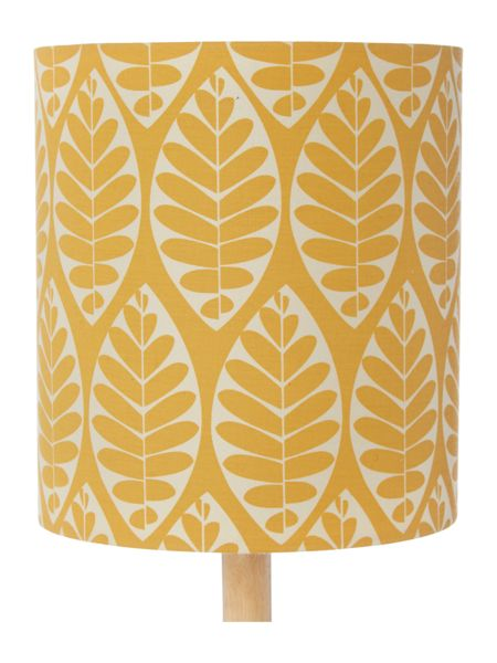 Dickins & Jones Tessa Wooden Table Lamp with yellow printed shade